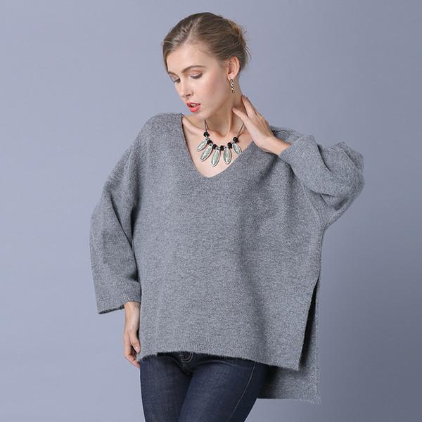Весна и осень V воротник Pure Color большого размера Толстый мм Турбинный женский свитер Женский свитер Завод прямых продаж
