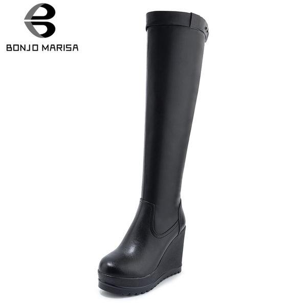 BONJOMARISA новая мода коровья кожа молния колено высокие сапоги Женская обувь добавить мех Клин высокие каблуки зимние сапоги Женская обувь женщина
