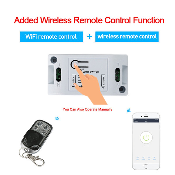 AC90-250V 10A WiFi Smart Light Switch + 433Mhz RF Remote Control Works With Amazon Alexa DIY Smart Home Automation Module