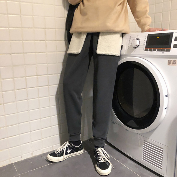 Invierno, además de terciopelo caliente pantalones de lana de cordero moda de los hombres de costura pantalones casuales hombre Streetwear salvajes sueltos Joggers Sweatpants para hombre