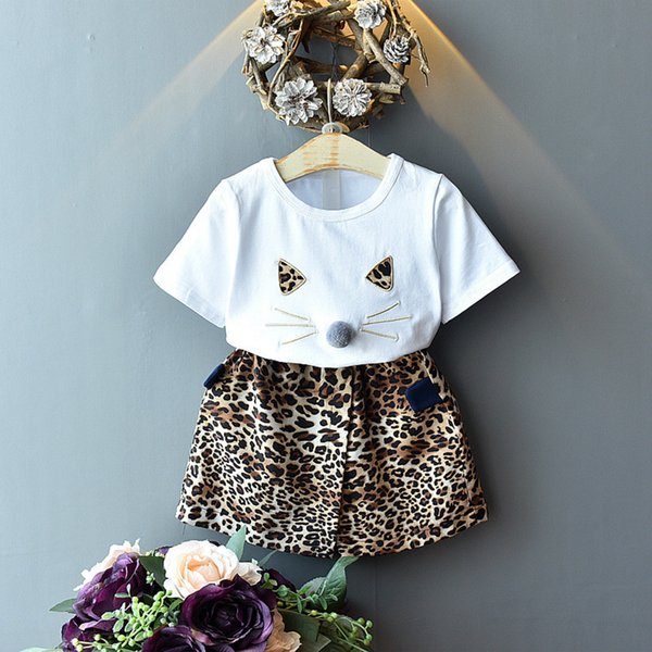 Toddler Kids Girl Cute Cat T-shirt Tops+Floral Shorts Pants Clothes Outfits Set