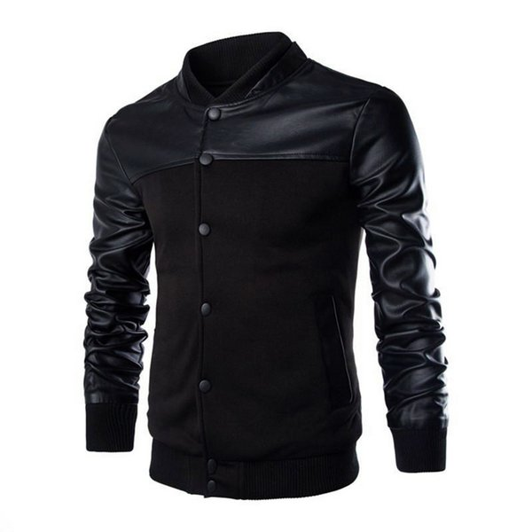 HEFLASHOR Men's PU Leather Patchwork Jacket Bomber Single-breasted Stand Collar Coat Male Fashion Outerwear deri ceket Masculino
