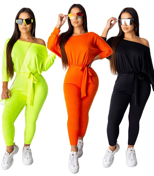 Women Designer Fall Jumpsuits Long Sleeve Rompers Sashes Solid Color Overalls Plus Size Pants S-2XL Leggings Casual Tights 1222