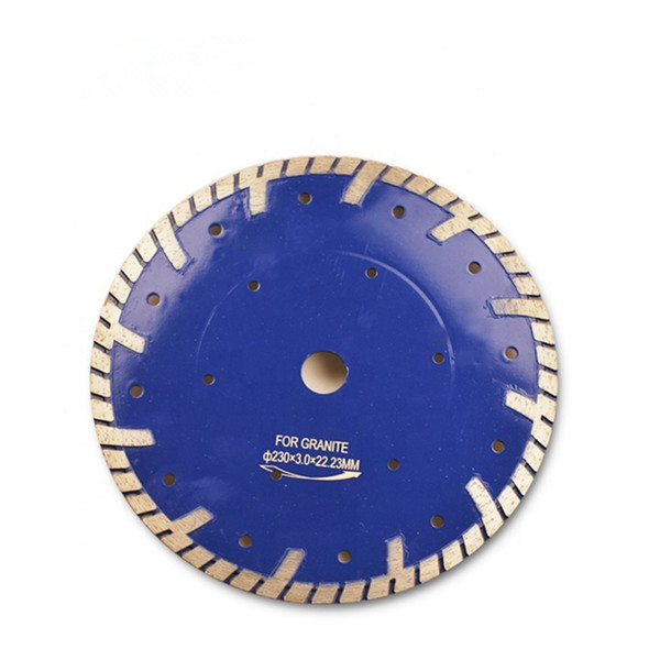 5 PCS D230mm Protective Teeth Diamond Saw Blades 9 Inch Hot Press Sintered Continuous Rim Turbo Cutting Disc for Granite