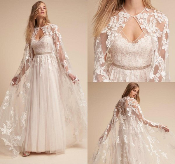 2020 Elegant Wedding Cape Full Lace Appliques Cloak Bolero Custom Made Cheap Bridal Wraps Bohemian Wedding Dress