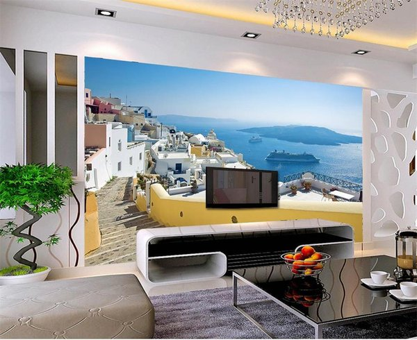 custom size 3d photo wallpaper livingroom bed room mural Aegean Sea castle scenery picture sofa TV backdrop wallpaper non-woven wall sticker