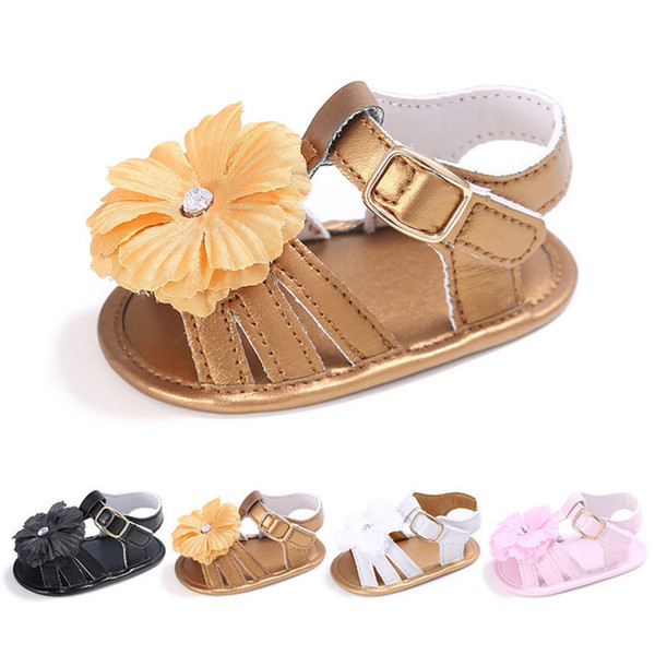 4 Color Summer Baby Shoes Toddler Girl Crib Shoes Newborn Flower Soft Sole Anti-slip First Walker NDA84L24