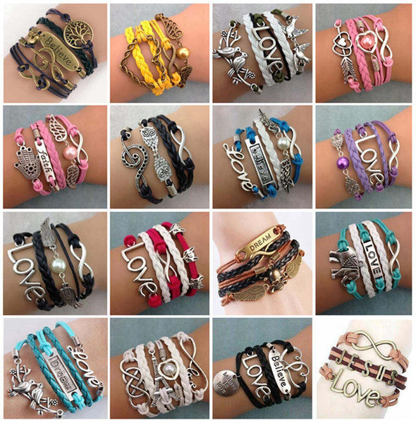 best selling Fashion Cuff Infinity Love Meatal Charm Bracelets Wristbands Antique Multilayer Leather Bracelets For Women Jewelry Gift