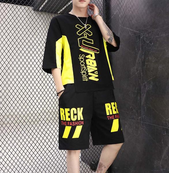 Tute sportive da uomo Summer Fashion Casual Tute sportive Allentato Hip Hop Lettera Stampa T-shirt Pantaloncini asiatici Taglia M-3XL all'ingrosso