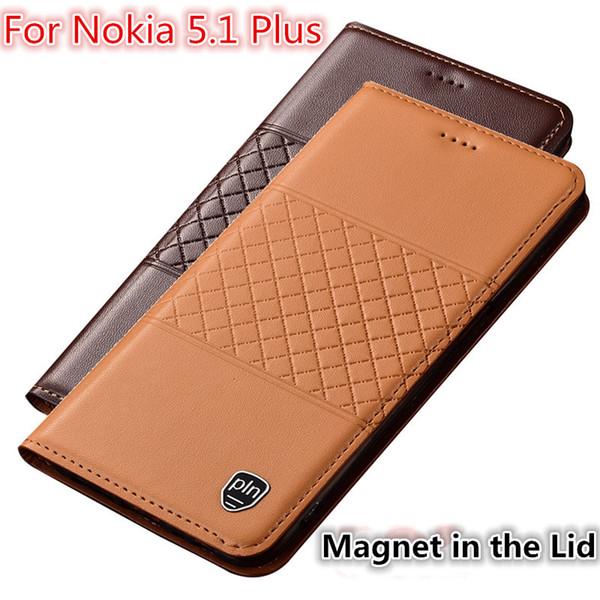 QX01 Hakiki Deri Telefon Kılıfı Için Kart Yuvası Ile Nokia 5.1 Artı Kılıf Nokia 5.1 Artı Flip Case