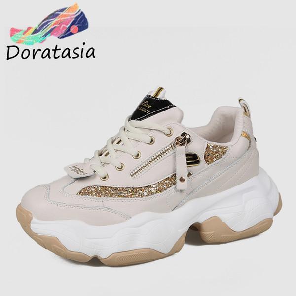 DORATASIA 2019 Estilo Ins Moda Meninas Calçados Femininos Plataforma Lazer Andando Confortável Chunky Sneakers Sapatos Casuais Mulher