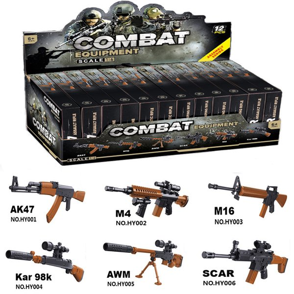 12pcs Sliencer 98K Soldiers Weapons Pack Guns and Accessories for Minifigures Building Blocks Military Toy PUBG Gun Toys