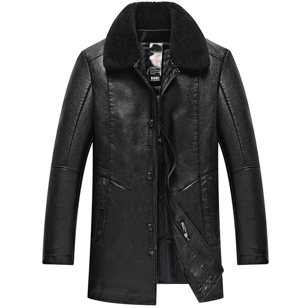 Winter Mens Leather Coats Faux Leather Down Jackets Fur Collar Thickening Warm Overcoat Snow Wear Plus Size 2019