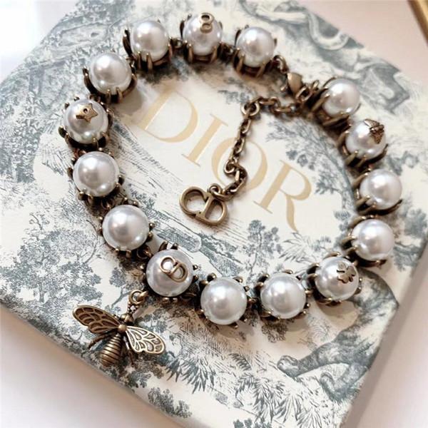D роскошные жемчуга браслеты пчелиных дизайнер ювелирных женщин латунный браслет braccialetto ди Lusso дамы бренд браслет Pulseira де Luxo первоначально коробкой