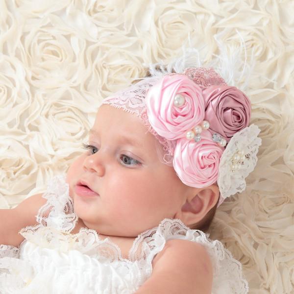 Baby Stirnbänder Mode Haarschmuck Für Kinder Baby Mädchen Stirnbänder Spitze Perle Diamant Feder Mesh Designer Stirnband