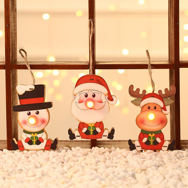 Led Lighted Christmas Hanging Decorations Wooden Christmas Tree Ornaments Pendant Santa Claus Snowman Deer Christmas Kid Gift Dbc Bh2435 Outdoor