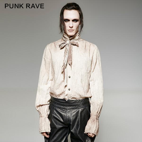 Punk Rave Camisa gótica para hombre Visual Kei Retro Steampunk Camisa Fiesta Noche Escenario Rendimiento Hombres Opción de dos colores