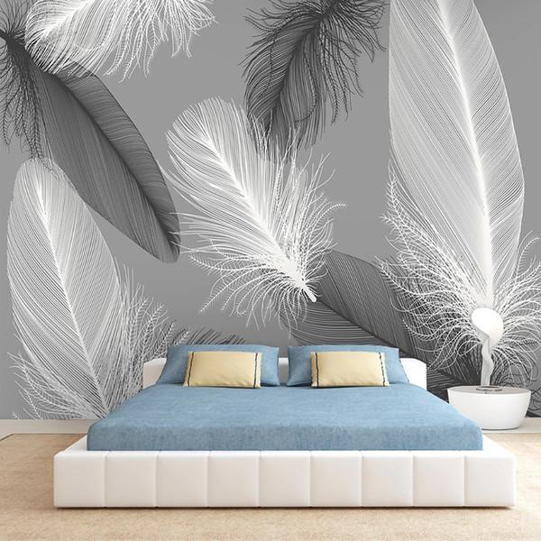 Wall Art 3D abstrato cinzento Feather Modern Pintura Sala Quarto fundo impermeável Canvas auto-adesivo Wallpaper Mural