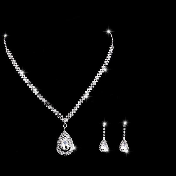 2019 larme mariée bijoux de mariage ensemble boucles d'oreilles strass collier boucles d'oreilles pour les femmes parti demoiselle d'honneur bijoux ensemble