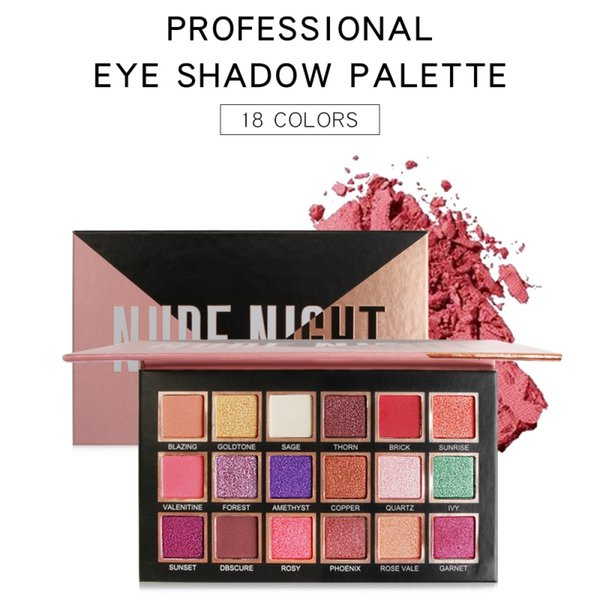 18 color professional matte eyeshadow palette waterproof smudge-proof easy to color shimmer eye shadow powder mkxj