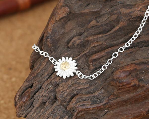 S925 saf gümüş Narin takı retro bayan saf ve taze eleman bilezik eğilim floret kolye gümüş bilezik