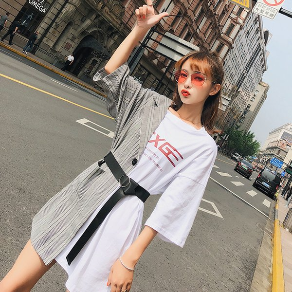 2019 Korean Splicing Fake Two Pieces Dress Letter Bardian T Shirt Half Business Suit Loose Street Snap Skirt With Belt wholesale