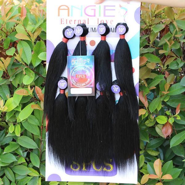 Fasci di capelli ricci crespi eterosessuali serici 8 pezzi / pacchetto Vergine 100 estensioni di capelli umani non trattati grezzi naturali onda di corpo nero 8 pollici