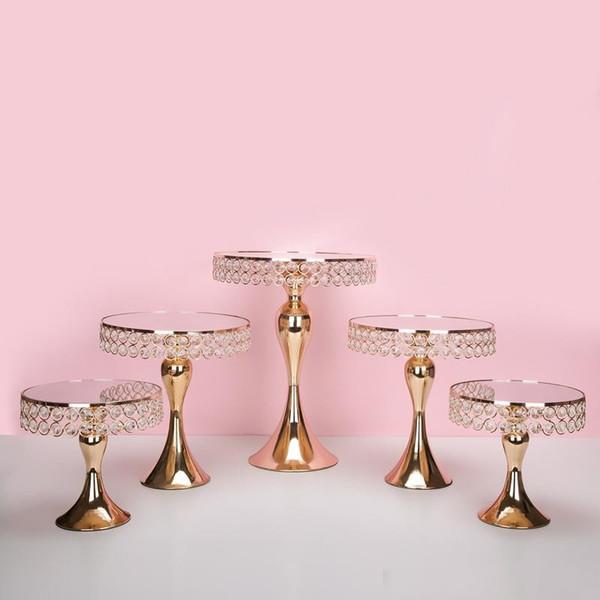 5 pçs / set Luxo Gold Crystal bolo titular stand bolo decorado bolo de casamento pan cupcake doce mesa de mesa de doces mesa de centro peças de decoração