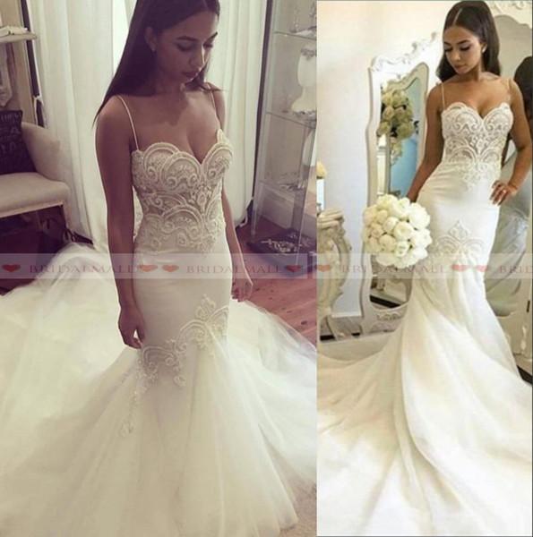 Lindo Applique Branco Tule Sereia Vestidos De Casamento 2019 Vintage Spaghetti Strap Longo Equipado Vestidos De Noiva Custom Made robe de mariée
