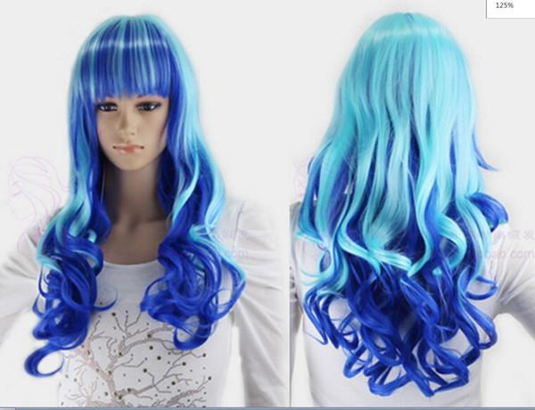 LL LL kk 004456 Encaracolado Azul Gradiente Cabelo Completo Longo Perucas Cosplay Weave Peruca