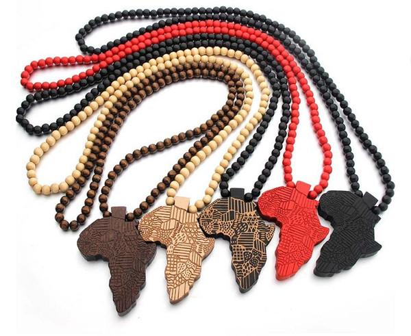 Collier pendentif en bois Maxi Hip hop collier avec carte multicolore de carte de l'Afrique goodwood