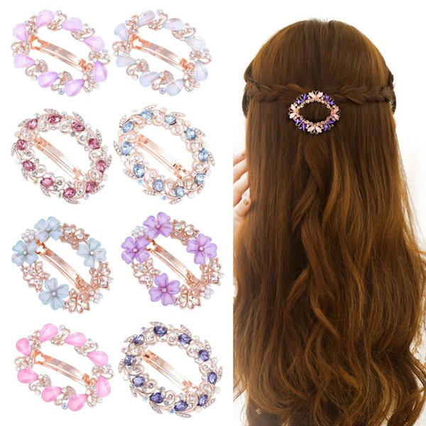 Elegant lady flower butterfly hairpin rhinestone hairpin crystal brooch styling tool hair wild spring clip top clip girl