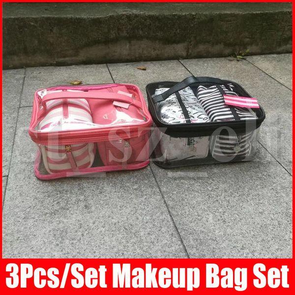 3pcs de cosmética bolsa impermeable bolsa de maquillaje Cosméticos portátiles caso del organizador de Necessaries de tocador Bolsas Bolsa de almacenamiento Secrect 4 Estilos