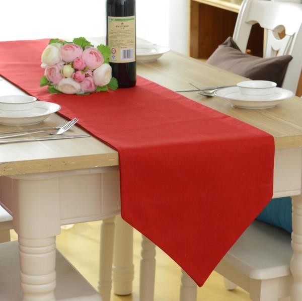 NOUVEAU 30x220cm Chemins de table en coton rouge Chemin de table moderne pour la décoration de fête de mariage Noël Nouvel an Décor pour la maison 5 tailles