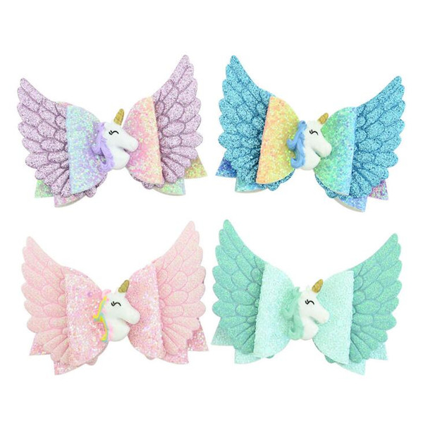Baby Unicorn Glitter Bows Hair Clips Boutique Hairclips Accessories Princess Hairgrips for Girls Children's Hair with Angel Wings..