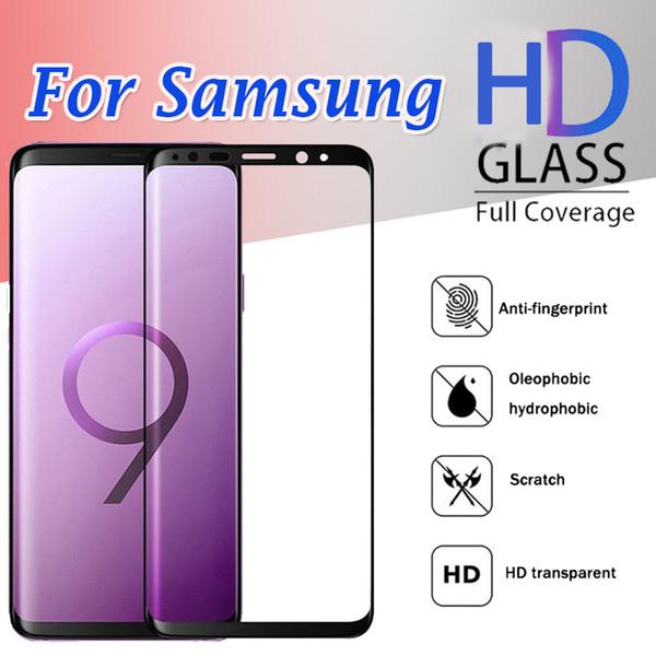 Cubierta de cobertura de cobertura de cristal templado curvo 3D completo Flim para Samsung Galaxy S10 E S9 Plus S8 S7 Edge S6 Nota 9 8 Huawei P30 Mate
