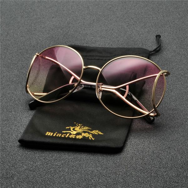 Nouveau Femmes lunettes de soleil rondes 2019 Mode Surdimensionné Transparent Vintage Femme lentille claire Gradient Lunettes De Soleil Nuances FML