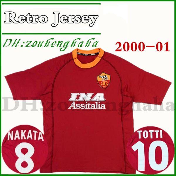 2000-01 Roma Retro Heimtrikot Totti Soccer Jersey 00 01 Fußball-Trikot von Cafu Emerson Candela