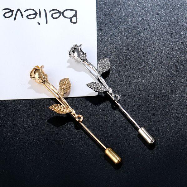 10 Teile / los Rose Blume Broschen für Frauen Männer Gold Silber Bankett Party Broohes Pin Kleid Anzug Kleidung Sommer Zubehör