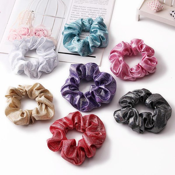 Hair Scrunchie Accesories Women Girl Ponytail Holder Scrunchies Dot Shiny Fabric Gradient color Laser Hair bands Headband 100pcs