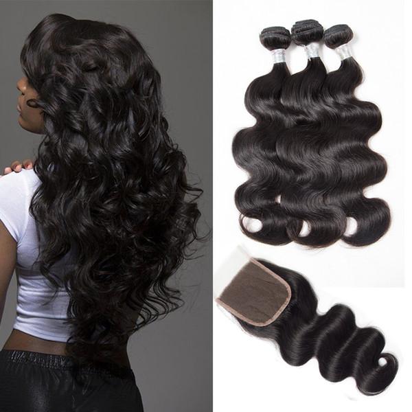 8A Brasilianische Reine Haarkörperwelle Mit Verschluss Menschliches Haar Brazillian Körperwelle Mit Verschluss Königinhaar 3 Bundles Mit Verschluss