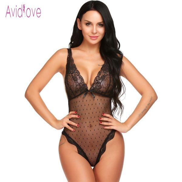 Avidlove Lace Lingerie Sexy Erotic Teddies Body mujeres Spaghetti Strap Lace Lace ropa interior ropa de dormir sexo ropa Porno ropa S703