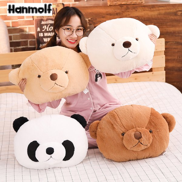 Animals Head Shaped Pillow Fluffy Panda/Teddy Bear Throw Pillow Back Cushion Chair Sofa Decor Light Brown Teddy Bear Kids Gift