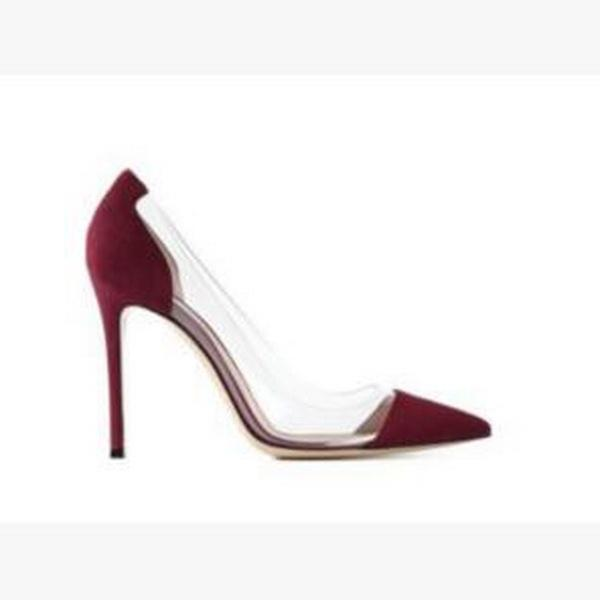 {Original Box} Latest Fashion Women Red Bottom High Heels Brands Exclusive Leather and PVC Pointed Toe Pumps Dress Shoes size 34-45