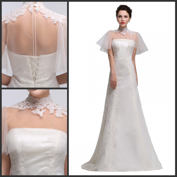 High collar Lace vintage A-line Short Sleeve Lace Wedding Dresses Appliques Beaded Bridal Wedding Gowns With Warp
