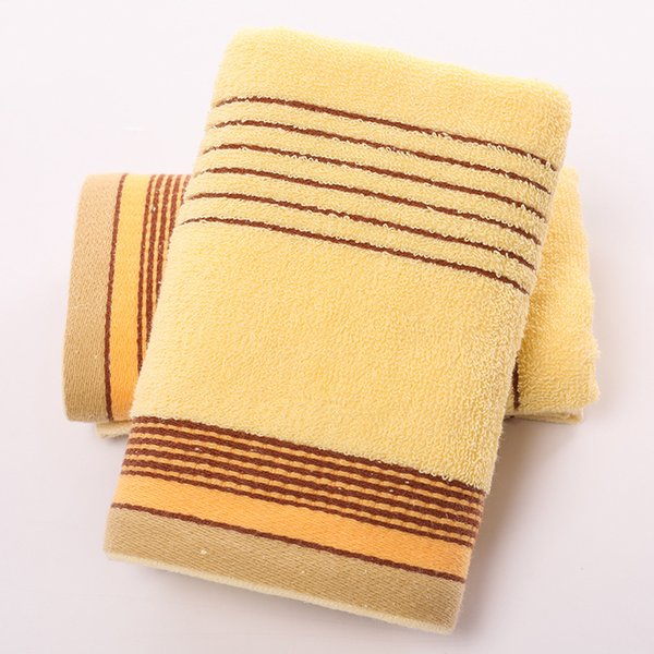 100% Cotton Plain Gradient Checkered Towel Hand Face Hair Bath Towel Wash Cleaning Towel Color-random 3 PCS