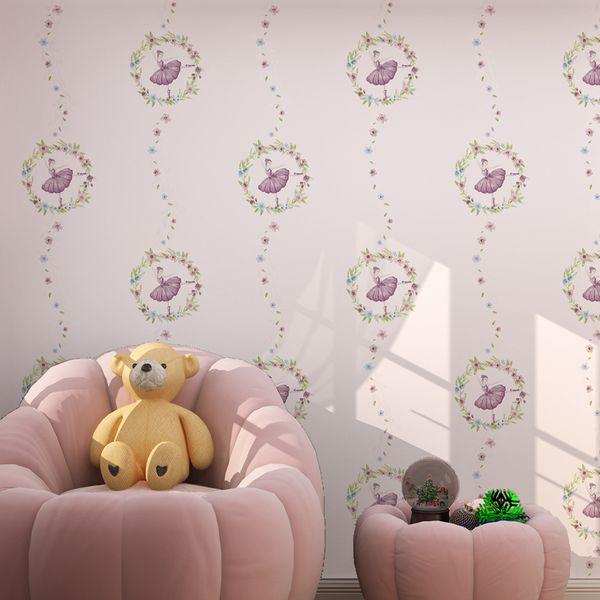 Princesa Papel Puro Papel De Parede Mural Para Quarto De Crianças Papel De Parede Criança 3d Dos Desenhos Animados Menina Dança Para Crianças Quarto Paredes