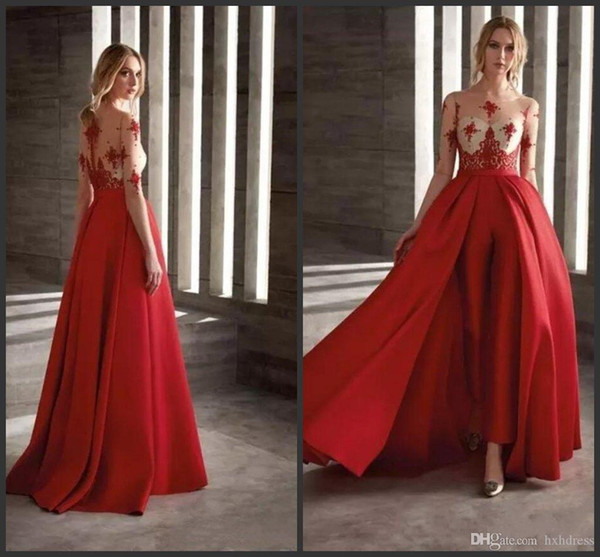 2019 New Red Prom Dresses With Detachable Skirt Satin Fashion Jumpsuit Half Long Sleeve Cocktail Dress Party Custom Made Evening Gowns