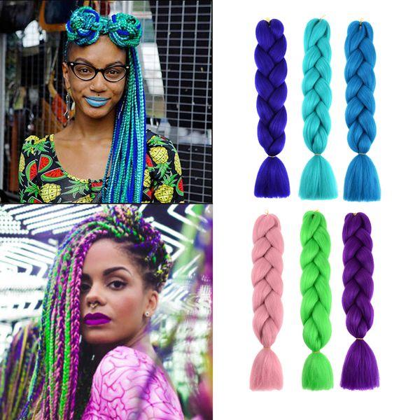 top popular Jumbo Braid Hair Extension 24inch 100g pc Synthetic Twist Braiding Crochet Hair for African American Women 2020
