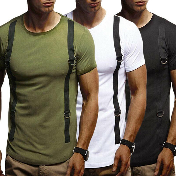 Fashion Men Short Sleeve Slim Fit Casual Slim Sports T-Shirt Cotton Muscle Tops Tee Pullover Summer Clothes For Adults